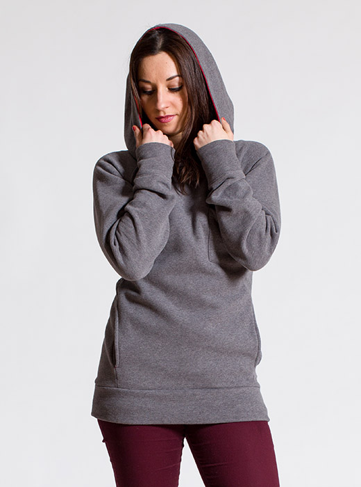 esteem Hoody CREATE girls grau rot pocket Kapuze