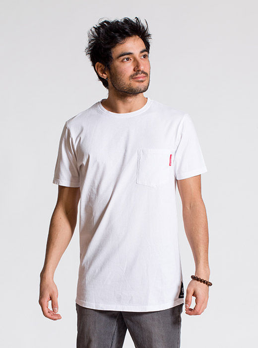 esteem Tshirt BASIC Longcut weiss pocket