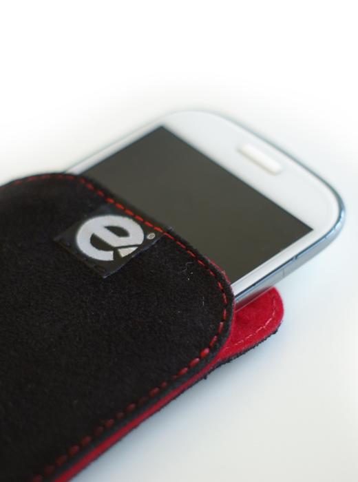esteem Accesspoire Handytasche schwarz rot Leder